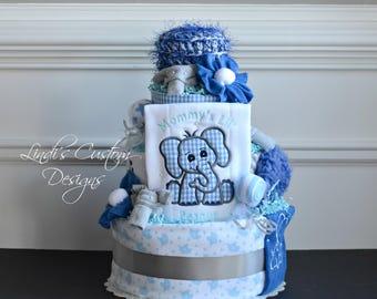 Lil' Peanut Elephant Diaper Cake, Blue Gray Diaper Cake, Boy Elephant Diaper Cake, Shower Cake Centerpiece, Navy Royal Baby Blue Gray