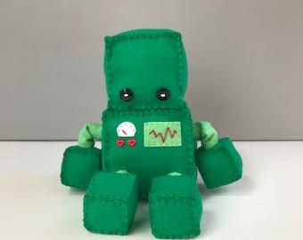 Felt robot softie - emerald green