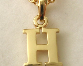 Genuine SOLID 9K 9ct YELLOW GOLD 3D Initial H Letter Pendant