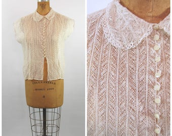 40s 50s Ivory Lace Blouse  // 38 Bust // Peter Pan Collar - Sleeveless - Soft White Lace Short Sleeved Sheer Lace Top Button Front