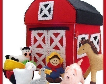 COUNTRY FARM - PDF Pattern (Barn, Barnyard, Farmer, Wagon, Horse, Cow, Pig, Sheep, Goose, Hay, Carrots)