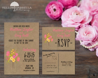 Pink Rustic Mason Jar Wedding Invitation with Save the Date and RSVP, Envelope Included