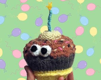 Burly Bertha the Birthday Cupcake - Hand Knitted Food Friend