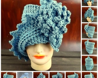 Crochet Pattern Hat, Crochet Hat Pattern, Womens Hat, Crochet Flower Pattern Crochet, Lauren 1920s Cloche Hat Pattern