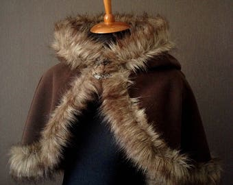 Wool hood with faux wolf fur