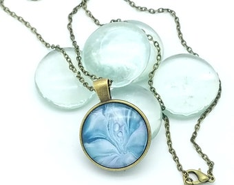Wearable Art Painted Glass Cabachon Pendant Smokey Blue and Bronze Flower Floral Layering Necklace 2018 Trend Mother's Day