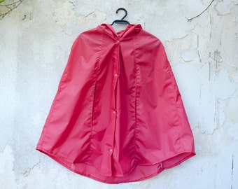 Pink Raincoat, Vintage Inspired Hooded Cape, Waterproof Rain Poncho, Gift For Her