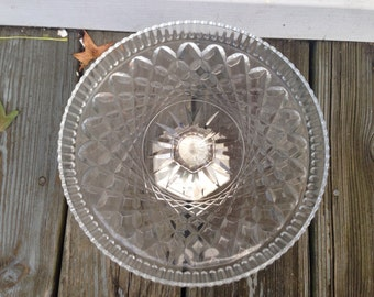 Clear Crystal Cake Stand with Silver Base