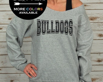 Bulldogs Off Shoulder Raw Edge Sweatshirt for Women GLITTER // School Shirt, Mascot, School Spirit, Team Spirit, Plus Sizes (Black Glitter)