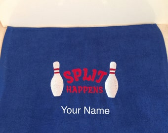 Embroidered Bowling Towel with or without Grommet & Hook