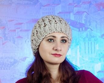 Hat with pom pom - Hand knitten hats - a cap of manual binding - winter hat - beigehat - hat for women- hat with pom pom for women