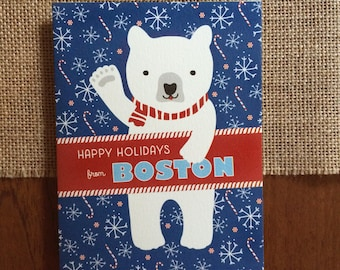 Polar Boston Folded Holiday Cards, Box of 10 - Boston Christmas Cards - Happy Holidays from Boston - OC1174-BO-BX
