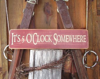 Bar Sign, It's 5 O'clock Somewhere, Drinking Sign. Happy Hour, Pool Signs, Bar Decor, Pool Decor, Wood Signs