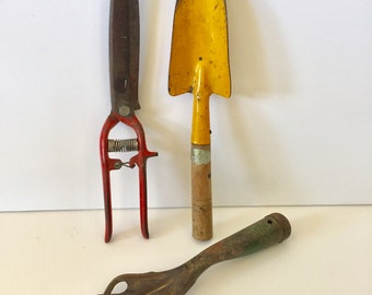 Vintage Garden Tools Shabby Chic - Yellow Shovel Green Hand Rake Red Clippers Trimmers - Primitive - Rustic - Cottage Garden Art - Claw Tool