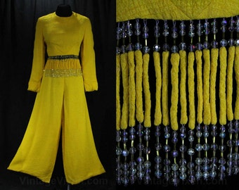Size 10 Designer Pantsuit - Yellow Silk 2-Piece Pant Suit - 1960s Tina Leser - Bohemian Chic Beaded Bare Midriff - 60s Gypsy Glam - 47645