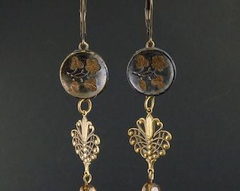 Antique perfume button earrings