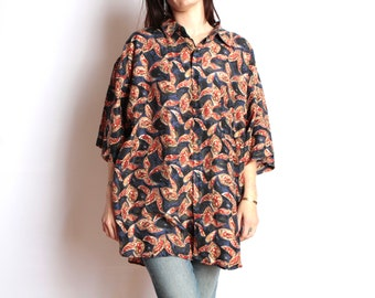 silk FRESH PRINCE color block VERSACE style 90s slouchy oversize floral grunge blouse shirt