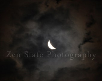 Night Sky Wall Art. Crescent Moon Photography Print. Wall Decor. Moon Photo Print, Framed Photography, or Canvas Print. Home Decor.