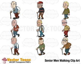 Senior Men Walking Clip Art, Digital Clipart, Digital Graphics
