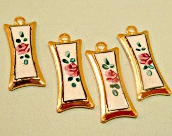 Four Vintage Painted Flower White Enamel Jewelry Pendant Findings (4-25-4)