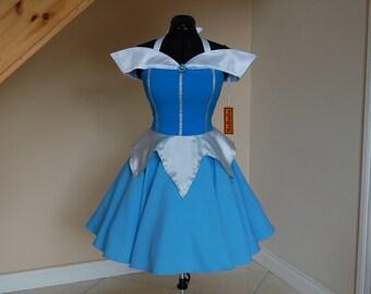 Princess dress , princess Costume , blue sleeping beauty dress .