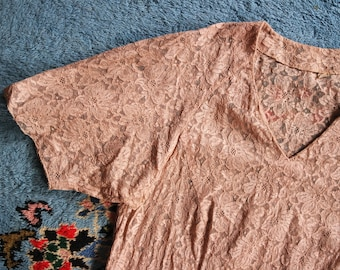 RESERVED | Antique 1920s Chantilly Lace Blouse - Taupe Lace Blouse