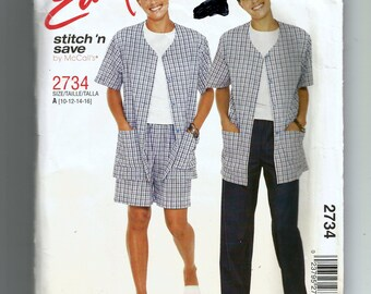 McCall's Misses' /Miss Petite Shirt and Pull-On Pants or Shorts Pattern 2734