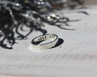 Personalized Ring- Stamped Ring- Sterling Silver Ring- Hand Stamped- Secret Message Ring
