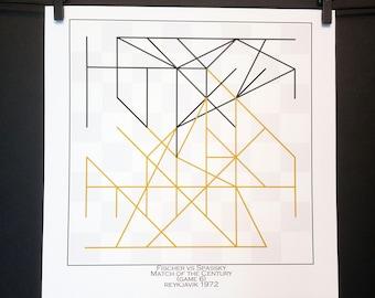 Chess Gift Art Print-Famous Chess Game *Fischer vs Spassky 1972