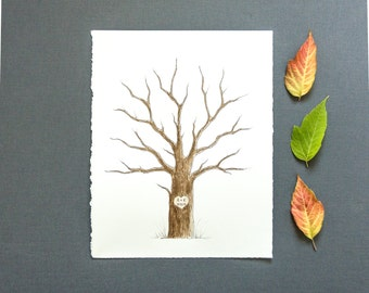 SMALL Wedding Guest Book Tree Thumbprint Tree 11 x 14 up to 60 guests