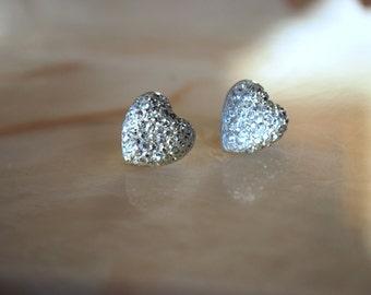 Silver Heart Earrings -- Silver Hearts, Silver