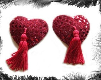 Sequin Heart Nipple Tassels, 3 sizes and 8 Colours available