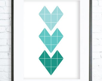 Geometric Print Art,Modern Art Prints, Home Decor, Turquoise Hearts Printable, Bedroom Art, Dining Room Art, Torquise Wall Art
