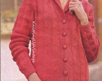Knitting Pattern PDF Womens Textured Panel Cardigan  32 - 40 Double Knit