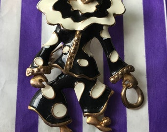 Stunning ARTICULATED gold tone 1980s circus clown brooch