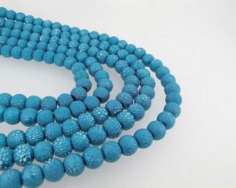 Blue round beads 10mm, Blue acrylic beads, DIY supply Textured Beads,