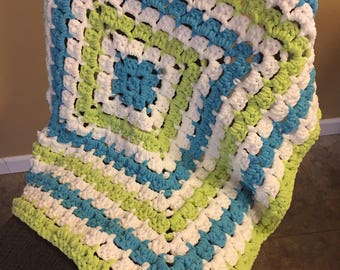 """Chunky Blue/Lime Baby Blanket - 36"""" x 36"""""""