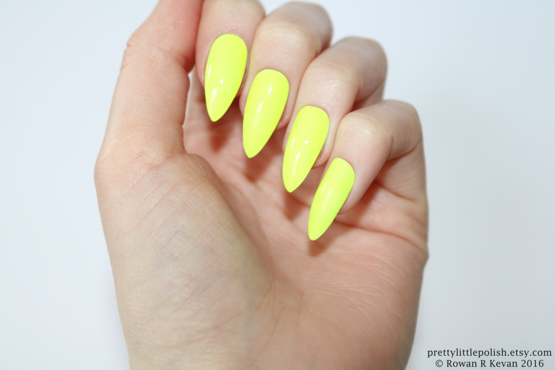 Stiletto nails Neon yellow stiletto nails Fake nails Press
