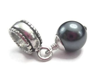European Gray Pearl Bracelet Charm Sterling Silver Tahiti Style Dangle, Turquoise Bead