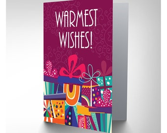 Christmas Card - Warmest Wishes Gift Presents Friend Purple Blank Card CP3145