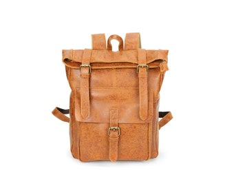 Tan genuine leather roll down rucksack / tan leather backpack