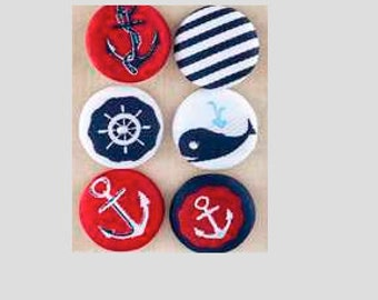 Nautical Push Pins/Thumb Tacks or Wine Charms, Red White Blue, Cubicle Dorm Room Decor, Gift Under 10, Fun Decorative Magnets Push Pins