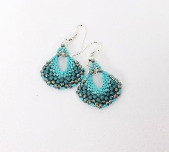 Aqua Fan Shaped Earrings SKU ER1029