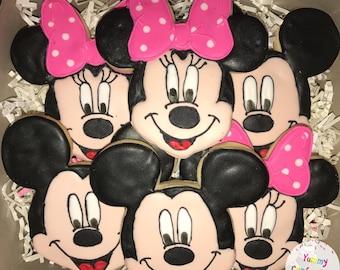 Mickey & Minnie Mouse Cookies - 1 Dozen (12 Cookies)