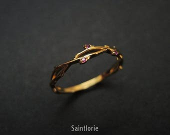 Three-stone Ruby Band Rose Gold Band Retro Band