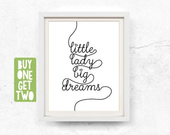 Little lady print, Black and white, Printable nursery, Digital download, Typographic print, Kids playroom, Kids wall art, 8x10, 11x14