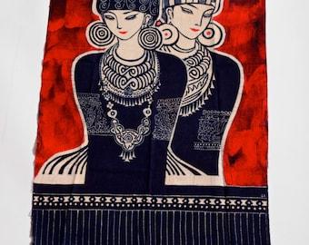 Hmong Tribe Sisters Batik Art Tribal Painting Tapestry