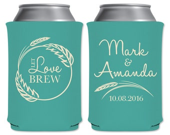 Wedding Custom Can Holders Beverage Insulator Personalized Wedding Favors | Let Love Brew (Style 2) | Custom Beer Holders | READ DESCRIPTION