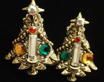 Christmas Tree Earrings Rhinestones Vintage