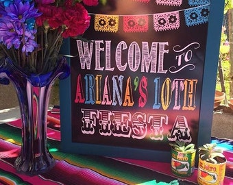 """Personalized Colorful """"Welcome to Fiesta"""" Faux Chalkboard (Digital file)"""